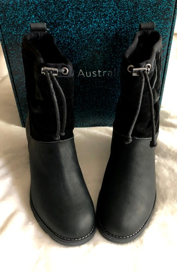 EMU Australia Leather Suede Round Toe Black Boots Image 2