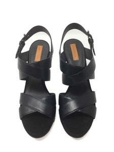 Reed Krakoff Confortable Classic Leather Boxer Platform Black Sandals