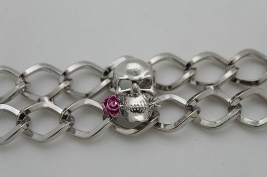 Alwaystyle4you WomenSilver Metal Boot Chains Bracelet Bling Skeleton Skull Shoe Charm Image 2