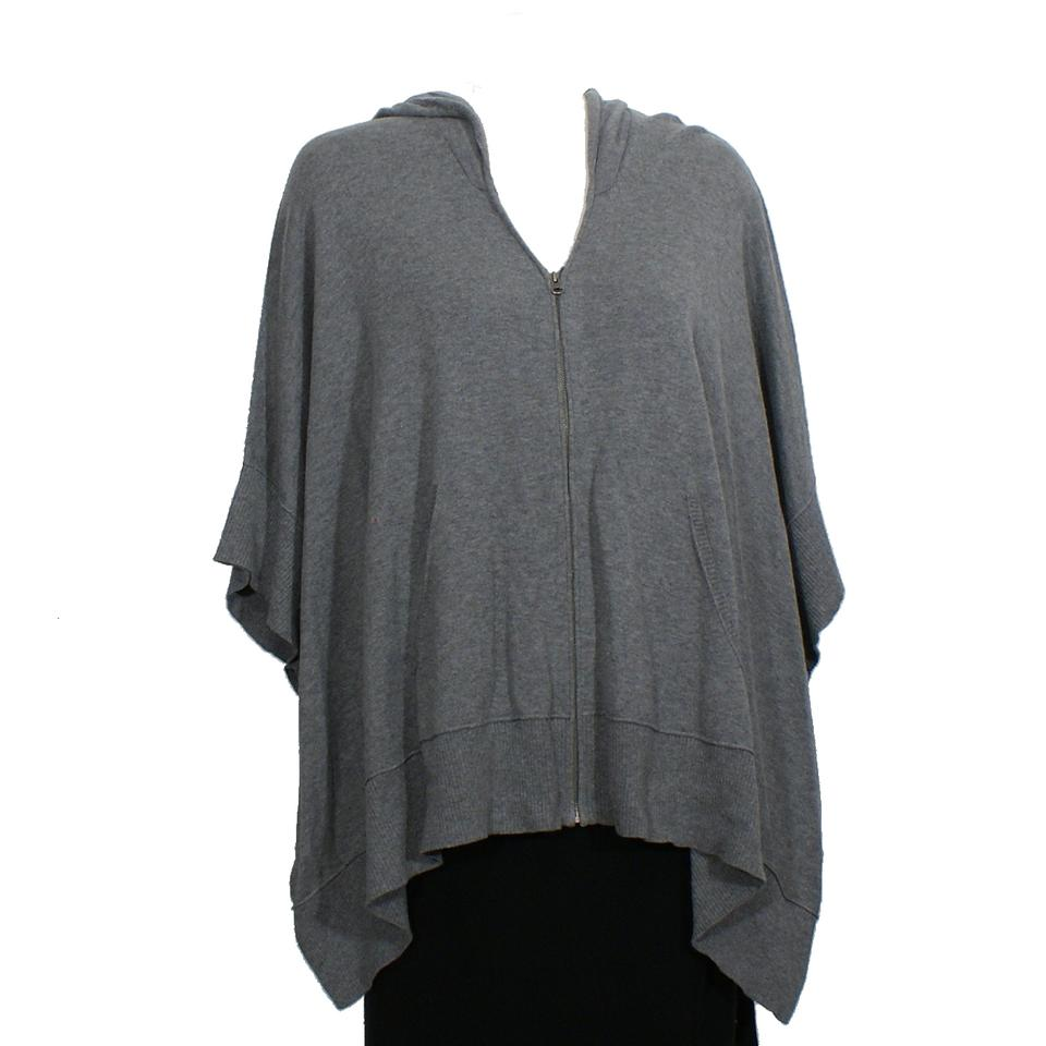 Eileen Fisher Cinder Gray Organic Cotton Hooded Poncho Cardigan Size ... 82224e4d2