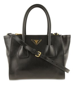 a6ead3d7d6f Prada Shopping Women's Glace Calf Handbag 1bg625 Black Leather Tote ...