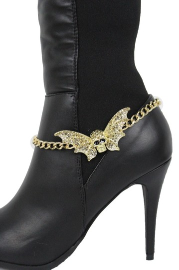 Alwaystyle4you Women Gold Metal Boot Chains Bracelet Bling Big Bat Shoe Charm Image 7