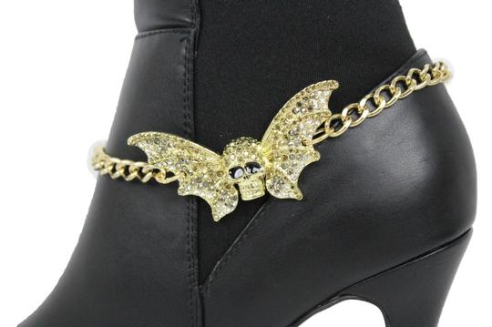 Alwaystyle4you Women Gold Metal Boot Chains Bracelet Bling Big Bat Shoe Charm Image 8