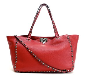 Valentino Stud Studded Cabochon Leather Tote in Red