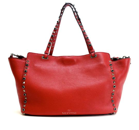 Valentino Stud Studded Cabochon Leather Tote in Red Image 1