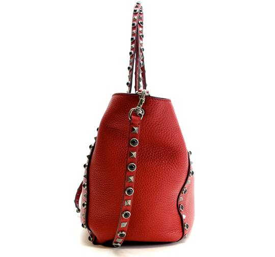 Valentino Stud Studded Cabochon Leather Tote in Red Image 2