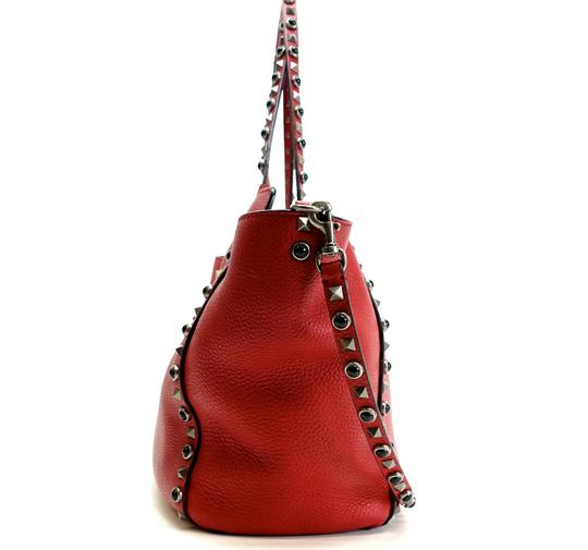 Valentino Stud Studded Cabochon Leather Tote in Red Image 3