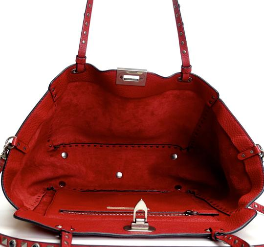 Valentino Stud Studded Cabochon Leather Tote in Red Image 4