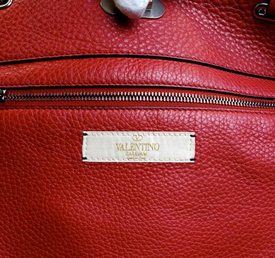 Valentino Stud Studded Cabochon Leather Tote in Red Image 5