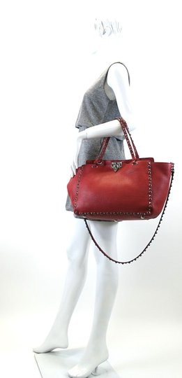Valentino Stud Studded Cabochon Leather Tote in Red Image 7