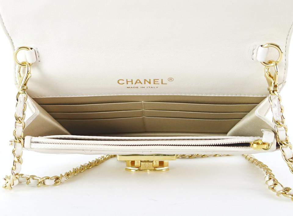 e501679e277364 Chanel Quilted Wallet On A Chain Cream Lambskin Leather Cross Body Bag -  Tradesy
