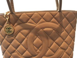 Chanel Discontinued Leather Tote in Beige