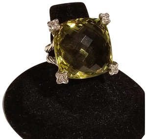 David Yurman David Yurman Diamond Lime Citrine silver cushion on point ring