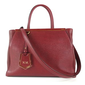 Fendi Calfskin Gold Burgundy Leather Tote in Red