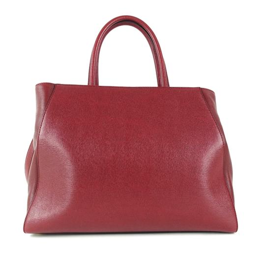 Fendi Calfskin Gold Burgundy Leather Tote in Red Image 1