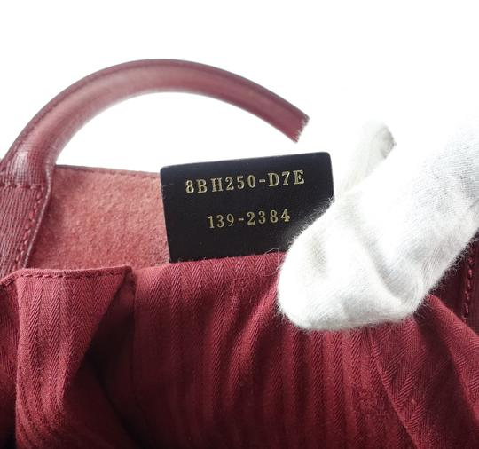 Fendi Calfskin Gold Burgundy Leather Tote in Red Image 11