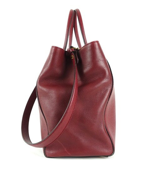 Fendi Calfskin Gold Burgundy Leather Tote in Red Image 2