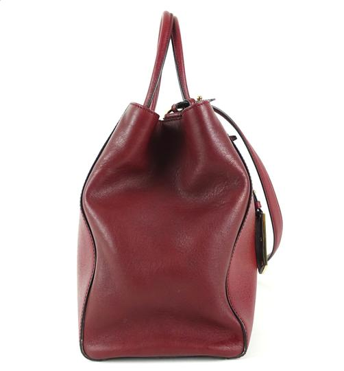 Fendi Calfskin Gold Burgundy Leather Tote in Red Image 3