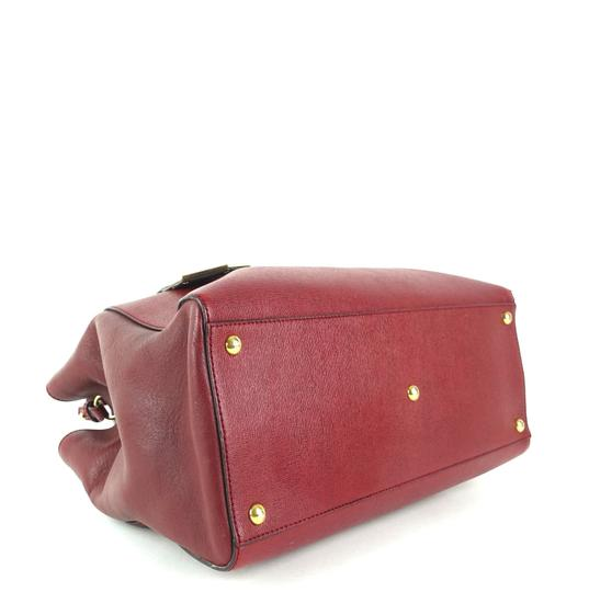 Fendi Calfskin Gold Burgundy Leather Tote in Red Image 4