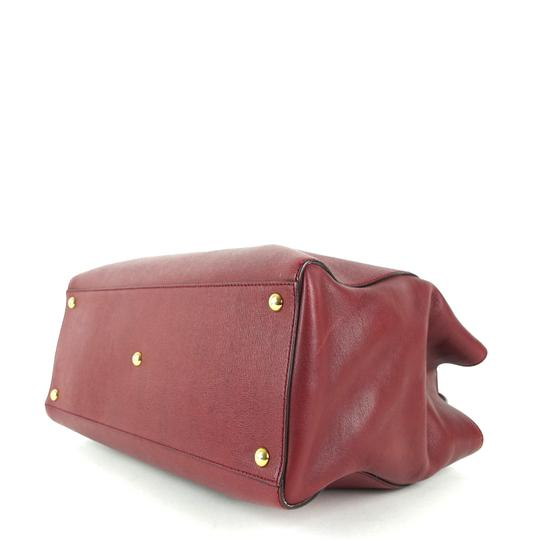 Fendi Calfskin Gold Burgundy Leather Tote in Red Image 5