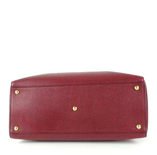 Fendi Calfskin Gold Burgundy Leather Tote in Red Image 6