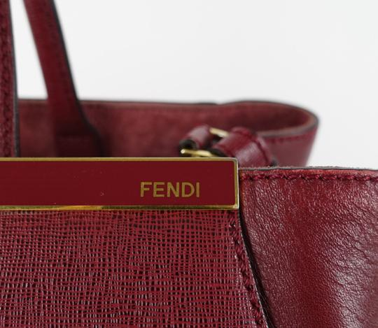 Fendi Calfskin Gold Burgundy Leather Tote in Red Image 7