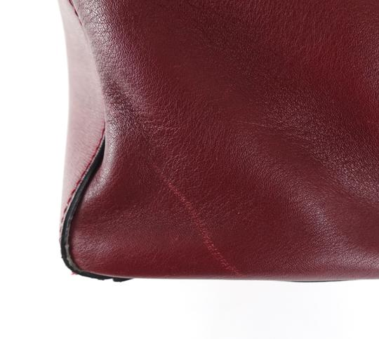 Fendi Calfskin Gold Burgundy Leather Tote in Red Image 8