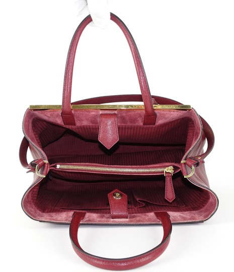 Fendi Calfskin Gold Burgundy Leather Tote in Red Image 9