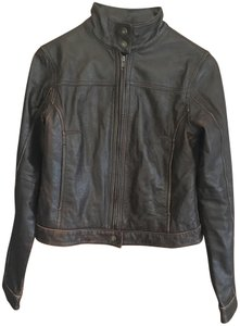 American Eagle Outfitters Racing Worn Look Brown Leather Leather Jacket
