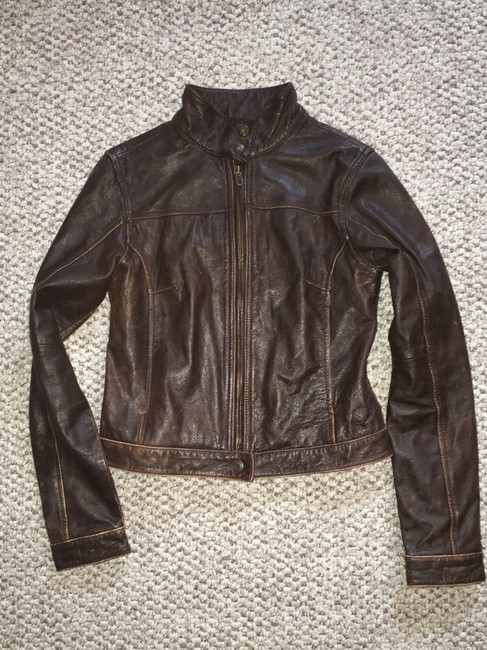 American Eagle Outfitters Racing Worn Look Brown Leather Leather Jacket Image 1