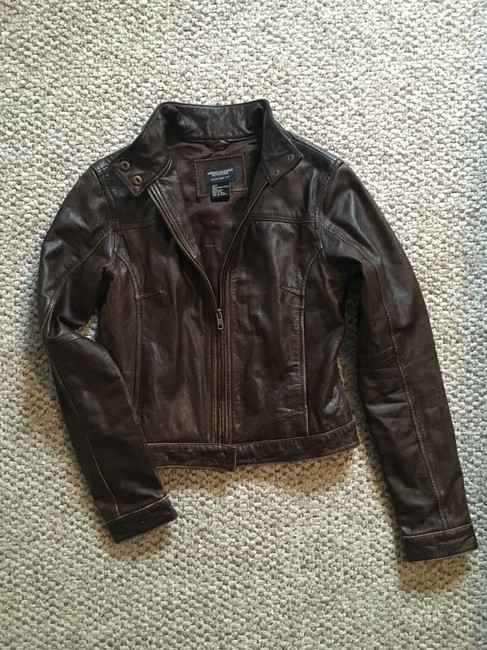 American Eagle Outfitters Racing Worn Look Brown Leather Leather Jacket Image 2