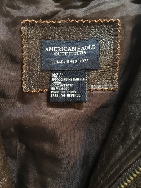 American Eagle Outfitters Racing Worn Look Brown Leather Leather Jacket Image 3