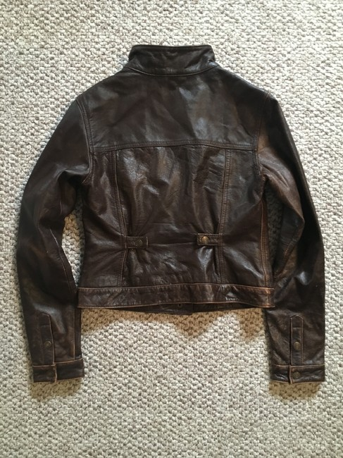 American Eagle Outfitters Racing Worn Look Brown Leather Leather Jacket Image 4