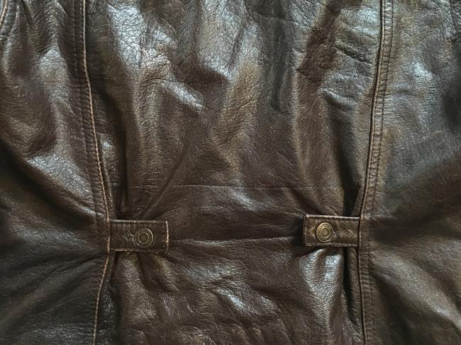 American Eagle Outfitters Racing Worn Look Brown Leather Leather Jacket Image 5