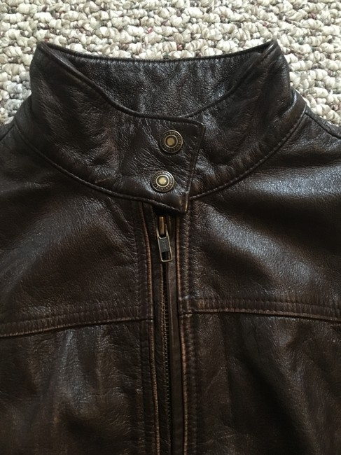 American Eagle Outfitters Racing Worn Look Brown Leather Leather Jacket Image 6