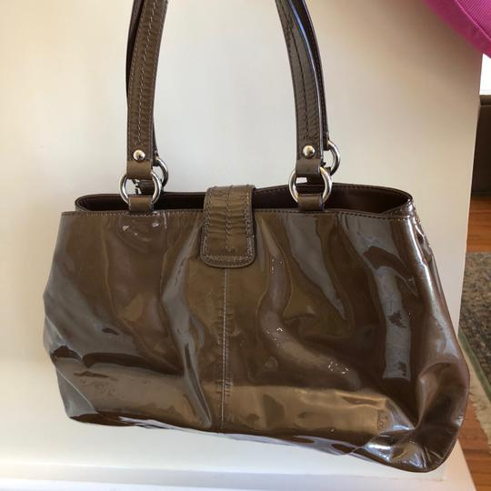 coach Patent Leather Satchel in Brown Image 1