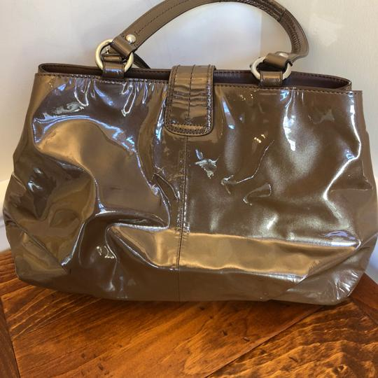 coach Patent Leather Satchel in Brown Image 3