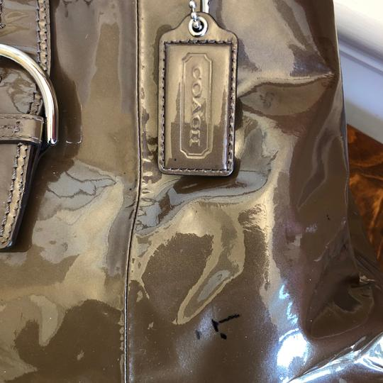 coach Patent Leather Satchel in Brown Image 5