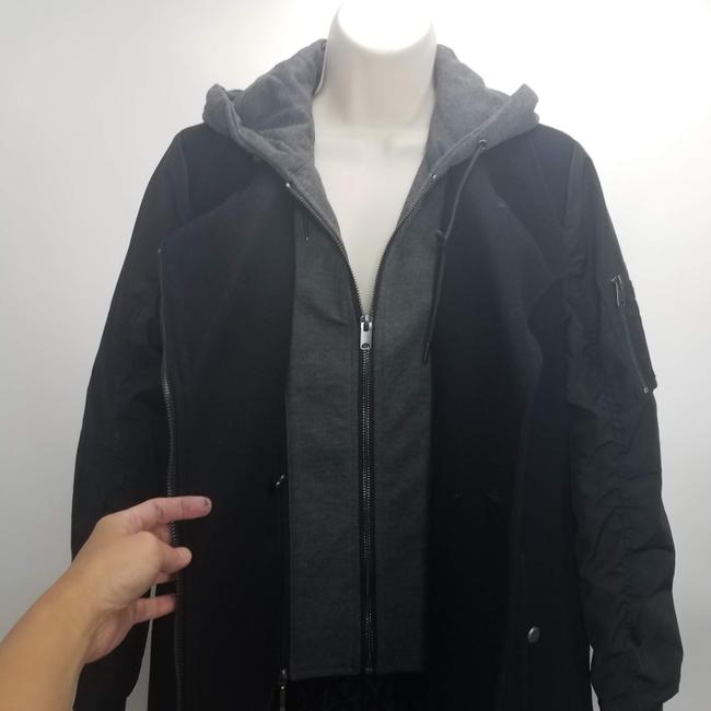 Marc New York Casual Grunge Hoodie Wool Trench Coat Image 2