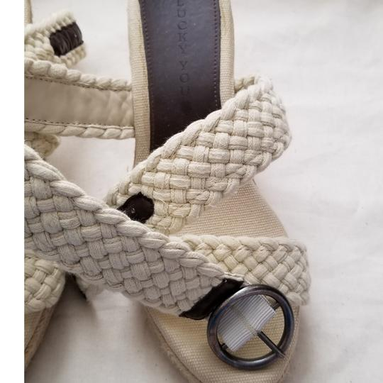 Lucky Brand Espadrilles Like New Size 9.5 Off White Cream Wedges Image 2