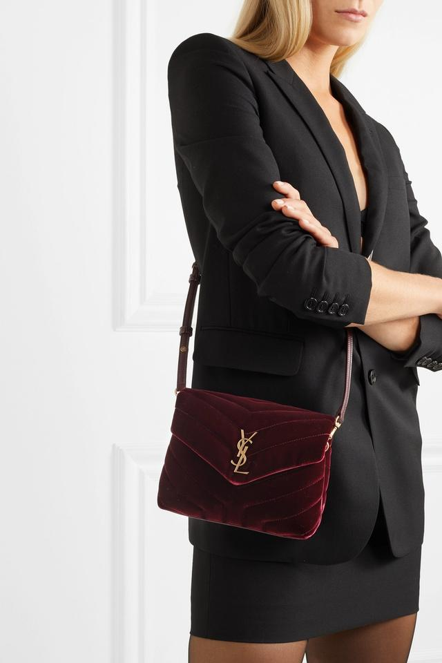 354430fa03 Saint Laurent Monogram Loulou Quilted Shoulder Burgundy Velvet Cross ...