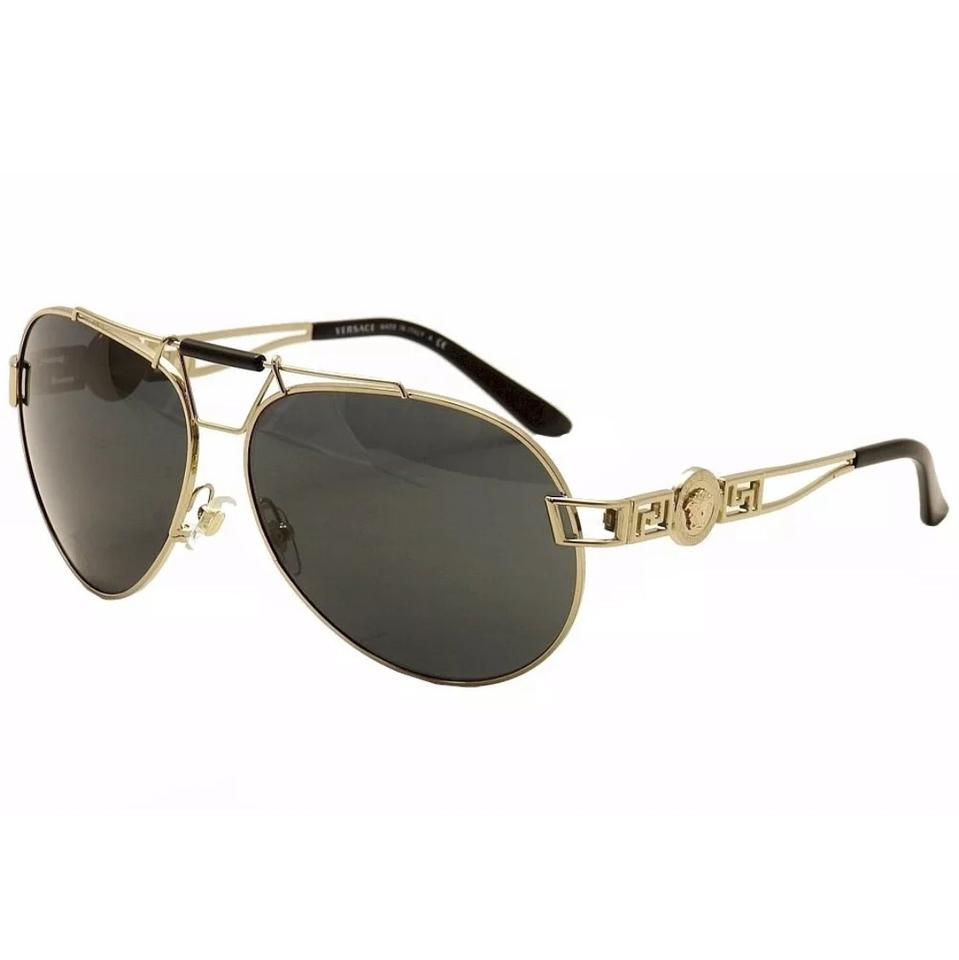 b0b04c0465 Versace Versace VE2160 VE 2160 1252 87 Pale Gold Black Fashion Pilot  Sunglasses ...