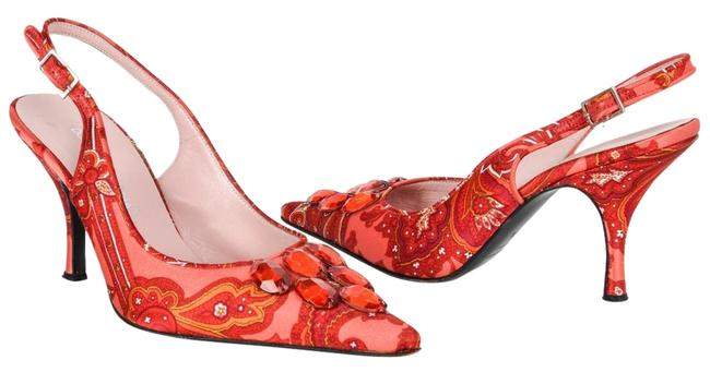 Item - Multicolor Red Jeweled Paisley Satin 37.5 / 7.5 Pumps Size EU 37 (Approx. US 7) Regular (M, B)
