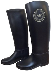 Emporio Armani Rainboots Rubber Riding Style Black Boots