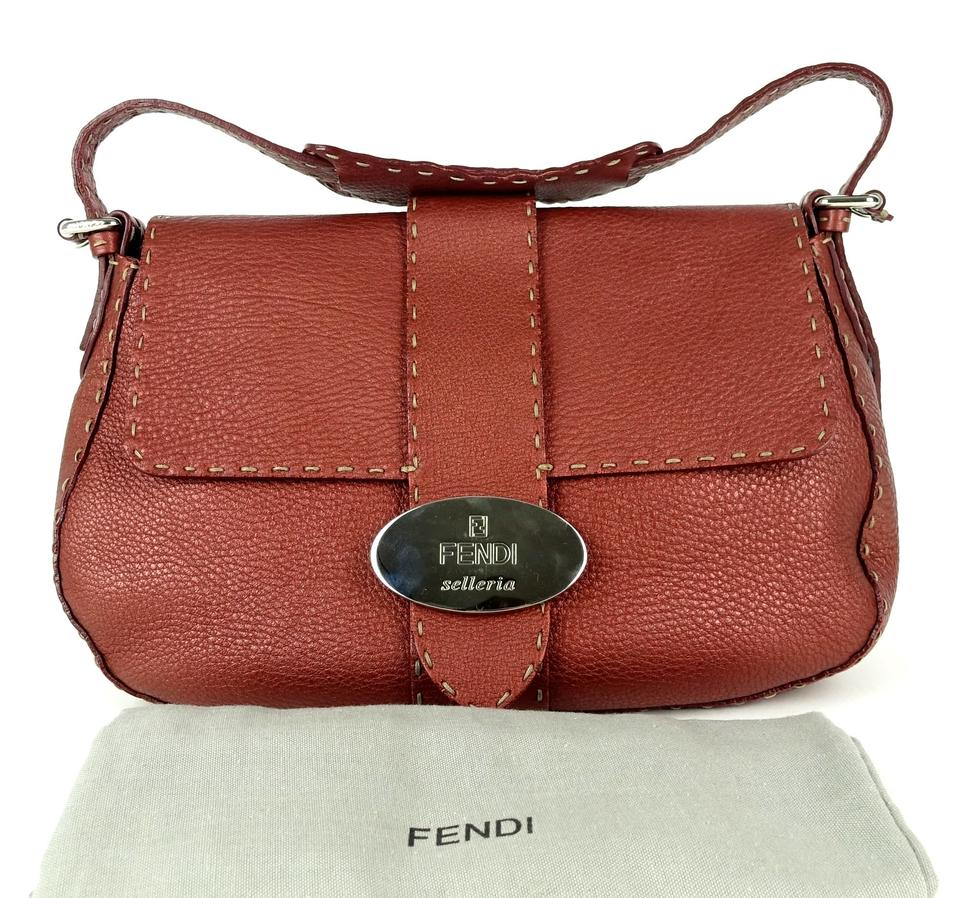 ec8f159c7f Fendi Selleria Grained Flap Red Leather Baguette - Tradesy