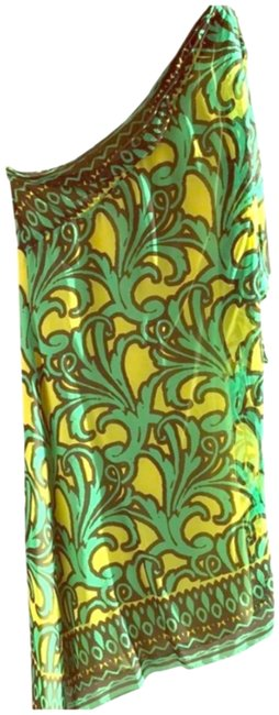 Item - Green Yellow Dark Grey Chic Mid-length Night Out Dress Size 6 (S)