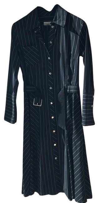 Item - Dark / Black with White Stripes Mid-length Formal Dress Size 6 (S)