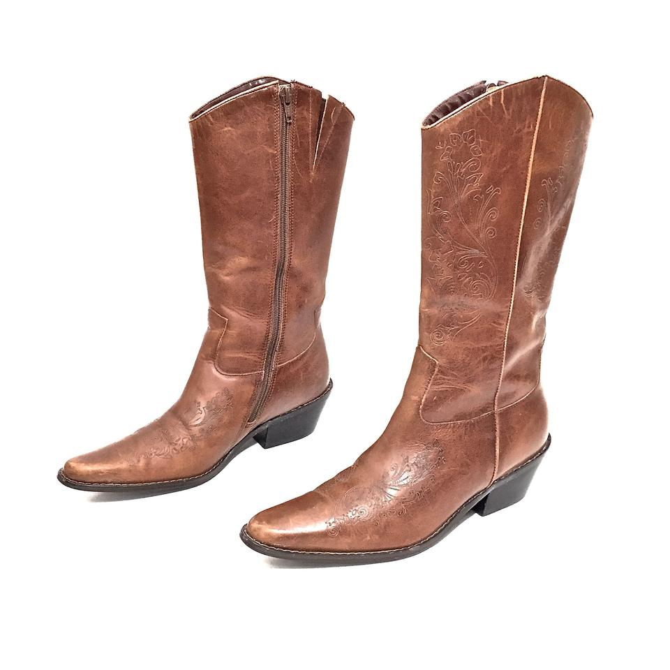 338951dd8a6 Matisse Brown Stitched Leather Zip Up Cowboy Boots/Booties Size US 7  Regular (M, B) 73% off retail