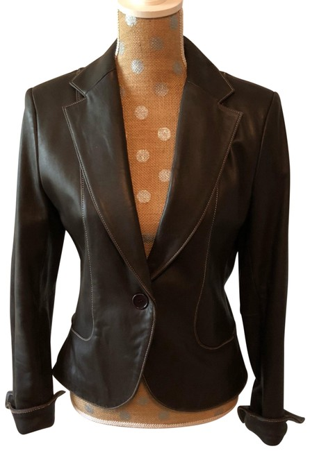 Item - Brown Leather Cropped Blazer Size 6 (S)