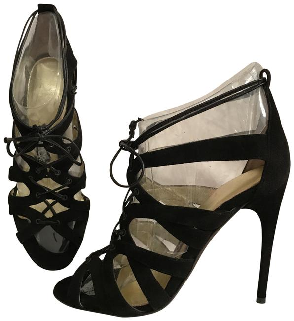 Item - Black New Suede Ankle Strap Caged Sandals Size EU 37 (Approx. US 7) Regular (M, B)